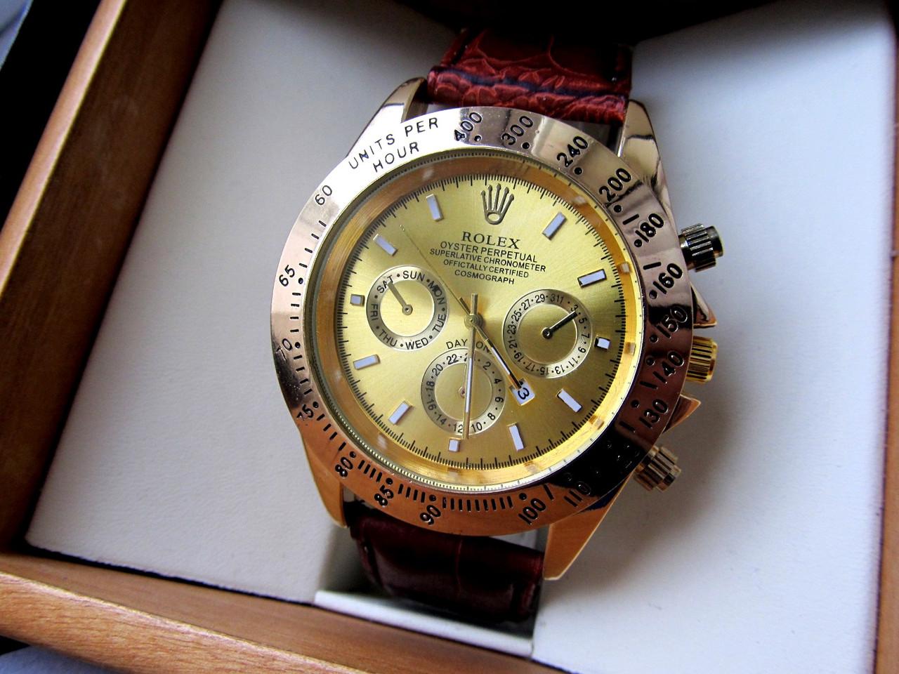 b804cd9f6ad2 Часы наручные Rolex Daytona золото с коричневым ремешком , мужские часы  интернет - Интернет-магазин