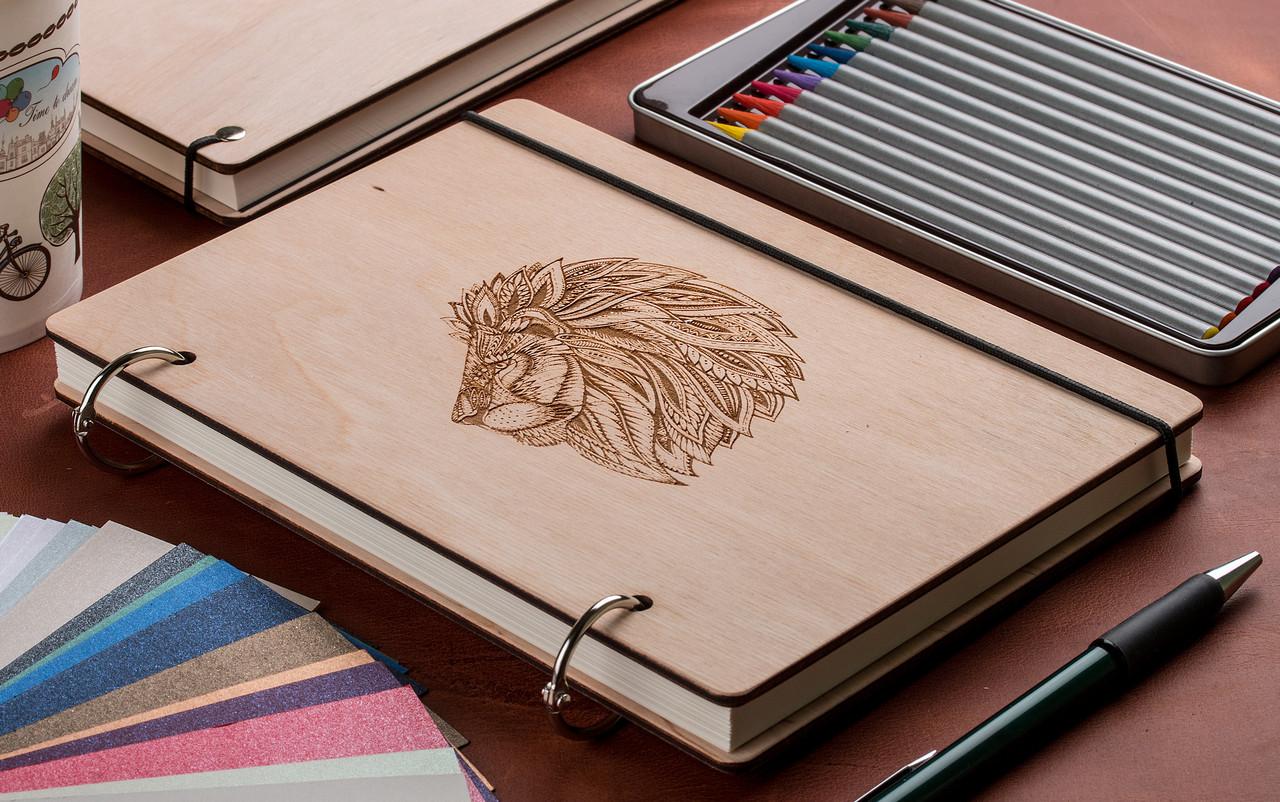 Скетчбук Лев. Блокнот с деревянной обложкой Lion