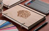 Скетчбук Лев. Блокнот с деревянной обложкой Lion B6