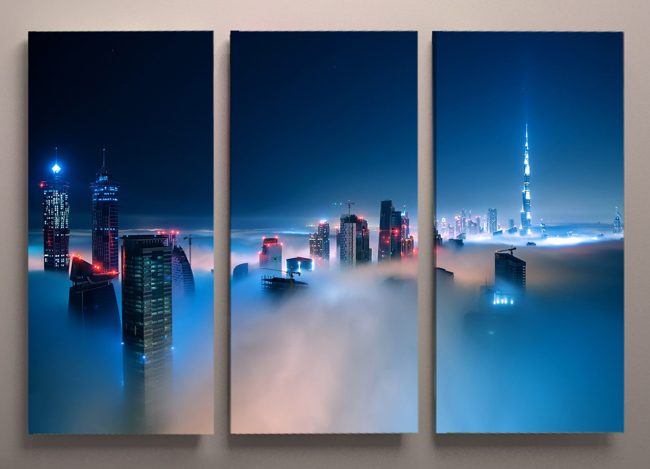 Картина модульная город в тумане 90х60