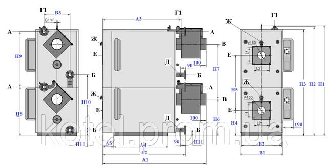 Схема и размеры газового вертикального термоблока Колви 180 Д