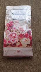 Подарочный бумажный пакет МИНИ ''Мелкая розочка'' 8*12*3.5 см