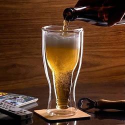 Комплект пивных бокалов с двойным дном Golden horse 400 мл набор 2 шт (3042)