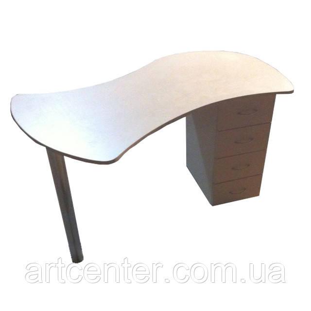 Стол для маникюра, маникюрный стол с цельной изогнутой столешницей, однотумбовый