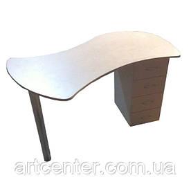 Стіл для манікюру, манікюрний стіл з цільної зігнутої стільницею, однотумбовий