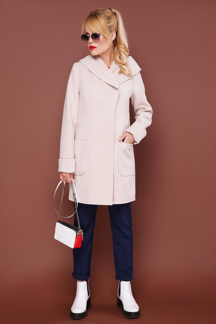 Модное пальто демисезонное шерстяное с капюшоном