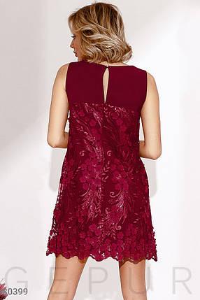 Стильное платье мини прямого кроя с потайной молнией без рукав темно красное, фото 2