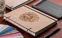 Скетчбук Лев. Блокнот с деревянной обложкой. B6