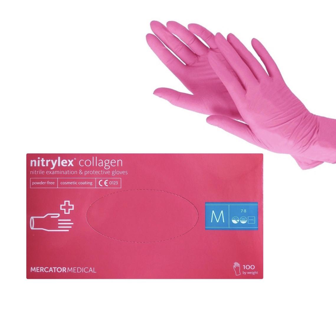 Рукавички нітрилові рожеві Nitrylex® Collagen розмір М