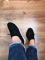 Со шнурками на белой подошве Черные женские мокасины на шнурках , фото 1