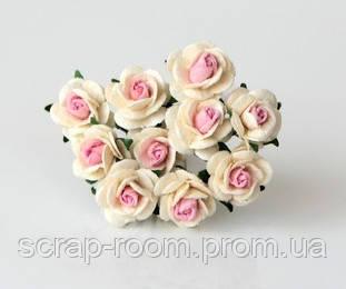 Роза мини молочно-розовая диаметр 1 см, роза молочная с розовой серединка, бумажная роза 1 см, цена за 1 шт