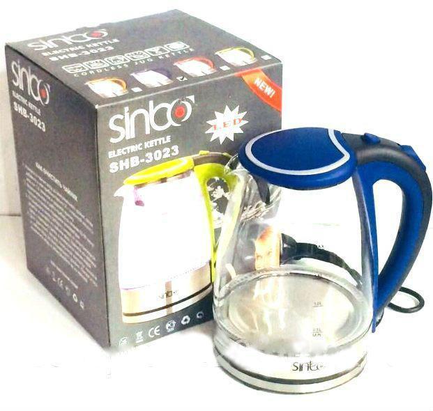Чайник стеклянный Sinbo SHB 3023 2 литра 1800 Вт прозрачный чайник с синим корпусом электрический