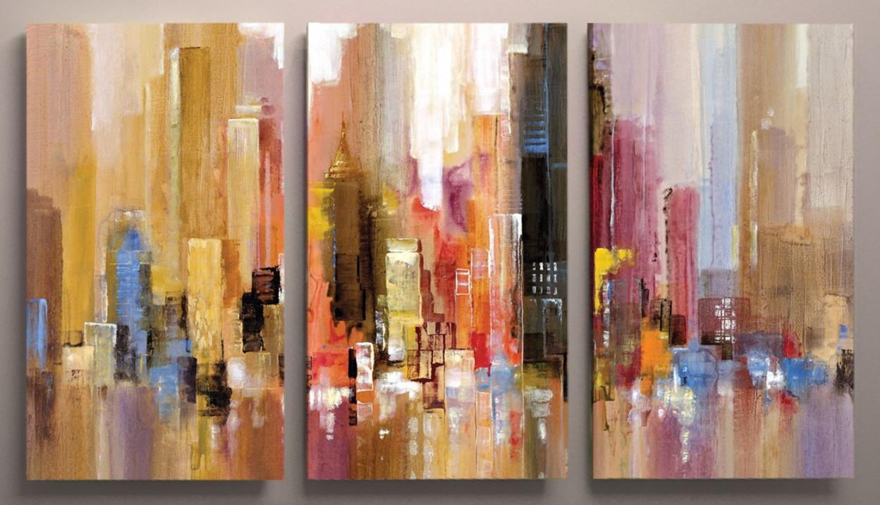 Картина модульная город 90х60