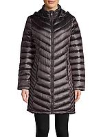 Женский темно-серый легкий стеганый  пуховик популярного бренда Calvin Klein (пакуется в мешочек)
