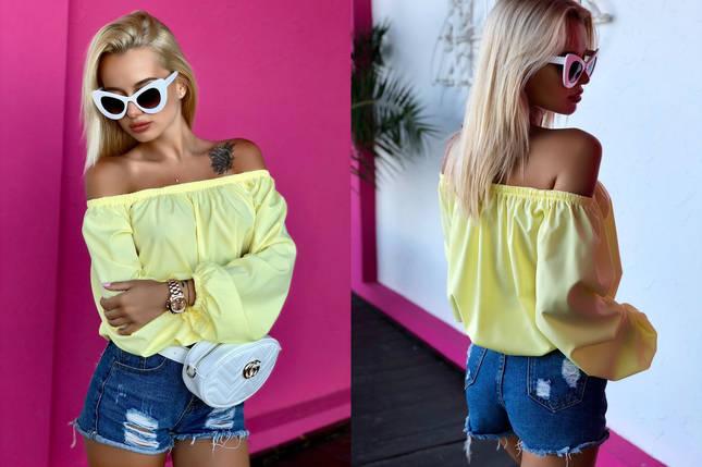 """Легкая женская блуза софт """"Ника"""" с оголенными плечами и длинным рукавом , фото 2"""