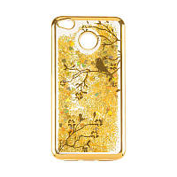 Чехол с жидкостью Beckberg Aqua на Huawei Mate 10 Bird Gold