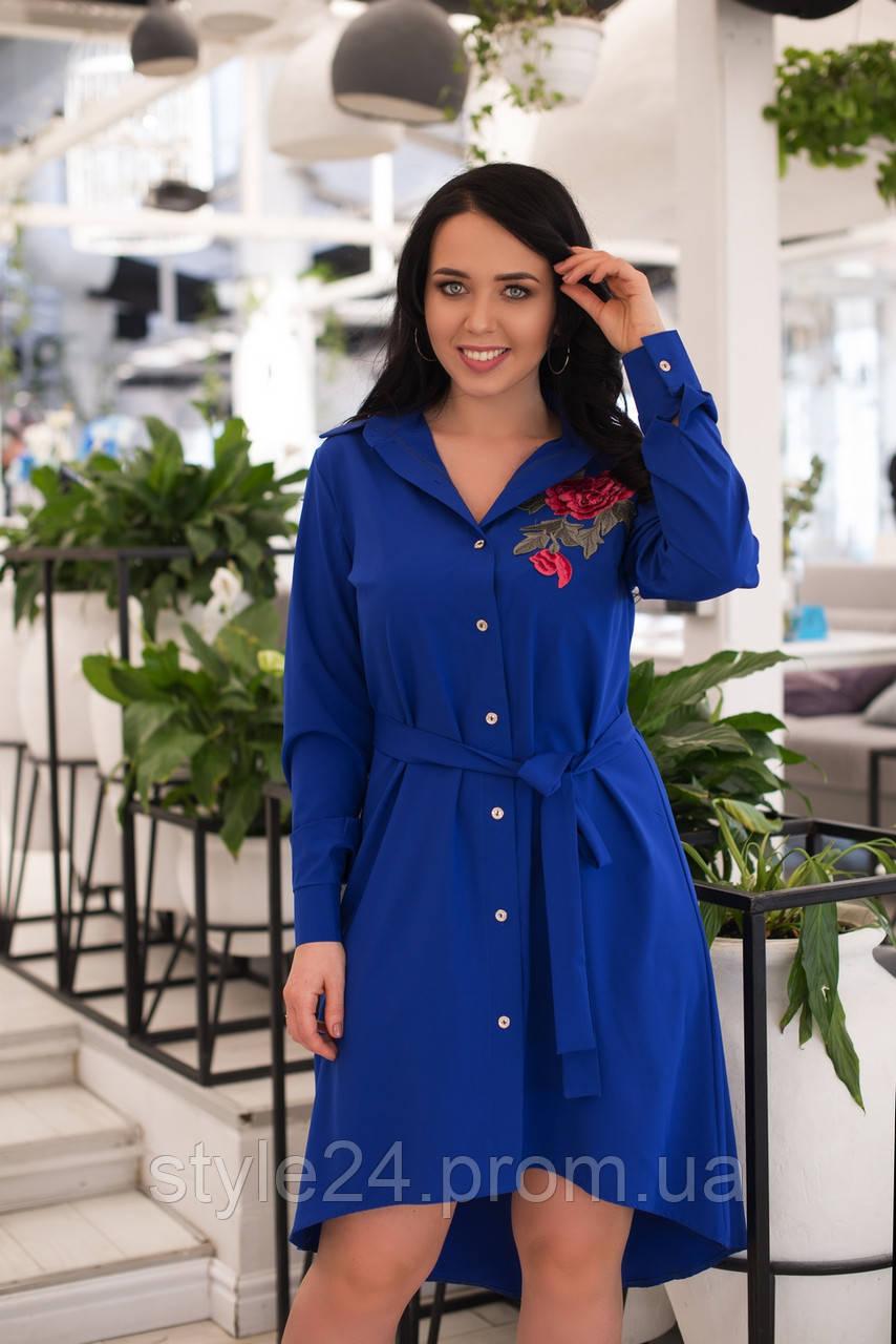 Батальне плаття-рубашка з трояндами.Р-ри 50-56