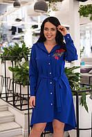 Батальне плаття-рубашка з трояндами.Р-ри 50-56, фото 1