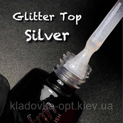 Glitter Silver Top coat LUXTON глиттерный топ без липкого слоя с серебряными блестками,10 мл, фото 2