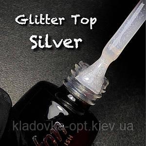 Glitter Silver Top coat LUXTON глиттерный топ без липкого слоя с серебряными блестками,10 мл