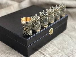 """Подарочные стопки из бронзы """"Хитрость"""" 6 штук, в кейсе из эко-кожи"""