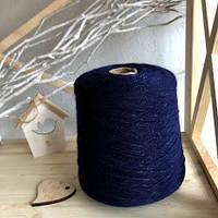 Итальянская бобинная пряжа в шнурочке (мохер, меринос и люрекс) Illy от IGEA (Italy) 380м/100г,синего цвета