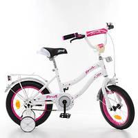 Двухколесный велосипед PROFI 14 дюймов Y1494 Star бело-малиновый