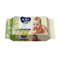 """Детские влажные салфетки """"Aura Baby"""" с клапаном 60шт"""