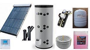 Готовый комплект для ГВС 6 человек на основе всесезонных солнечных коллекторов на 20 трубок с баком