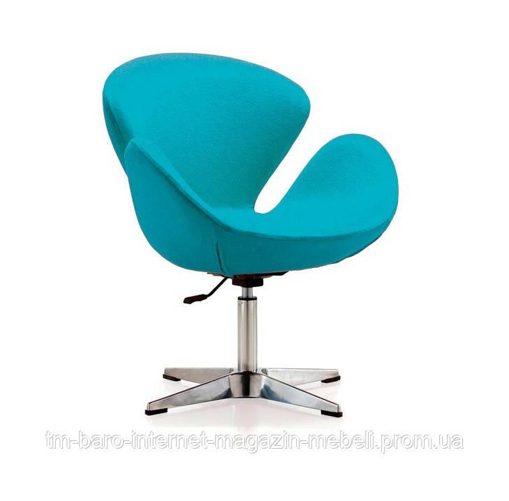 Кресло Сван голубой, металл, ткань