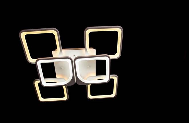 Современная светодиодная люстра с поочередным включением трех режимов и пультом. Площадь освещения 15-18 кв.м5543-4+2 WH Dimmer, фото 2