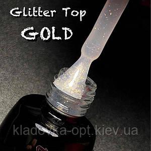 Glitter Gold Top coat LUXTON глиттерный топ без липкого слоя с золотистыми блестками,10 мл