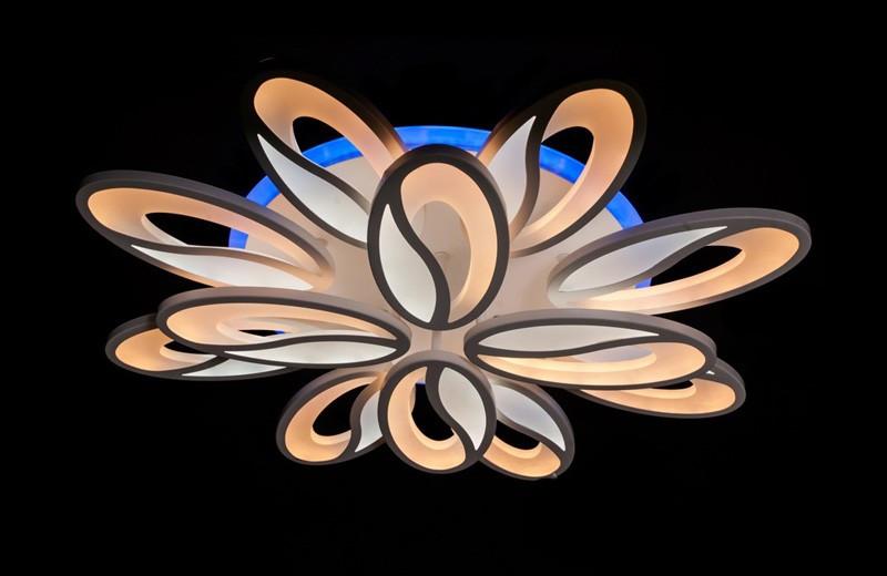 Светодиодная припотолочная люстра с диммером. Площадь освещения 16-22 кв.м5565/8+4 LED Dimmer