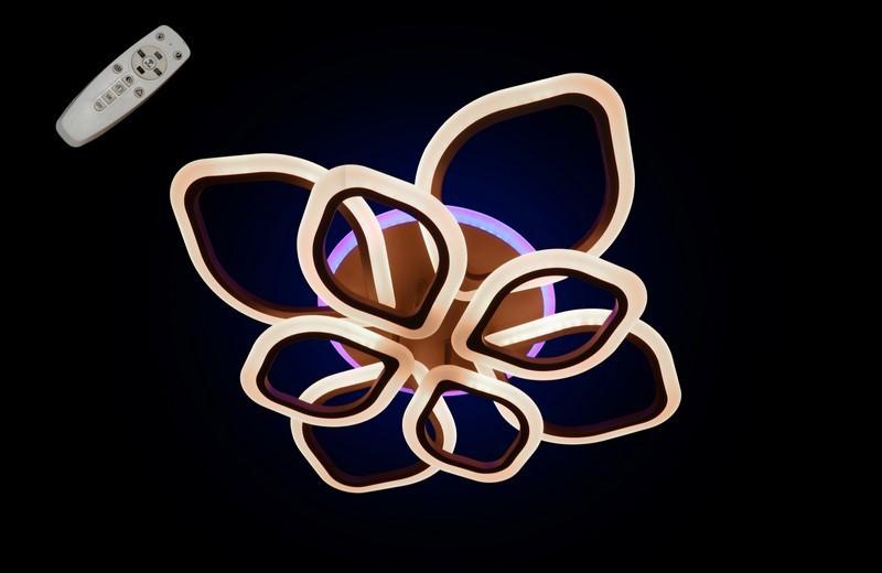 Светодиодная припотолочная люстра на три режима света. 5576/4+4 CF LED