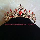 Диадема под золото в комплекте с серьгами с розовыми камнями, высота 5 см., фото 8