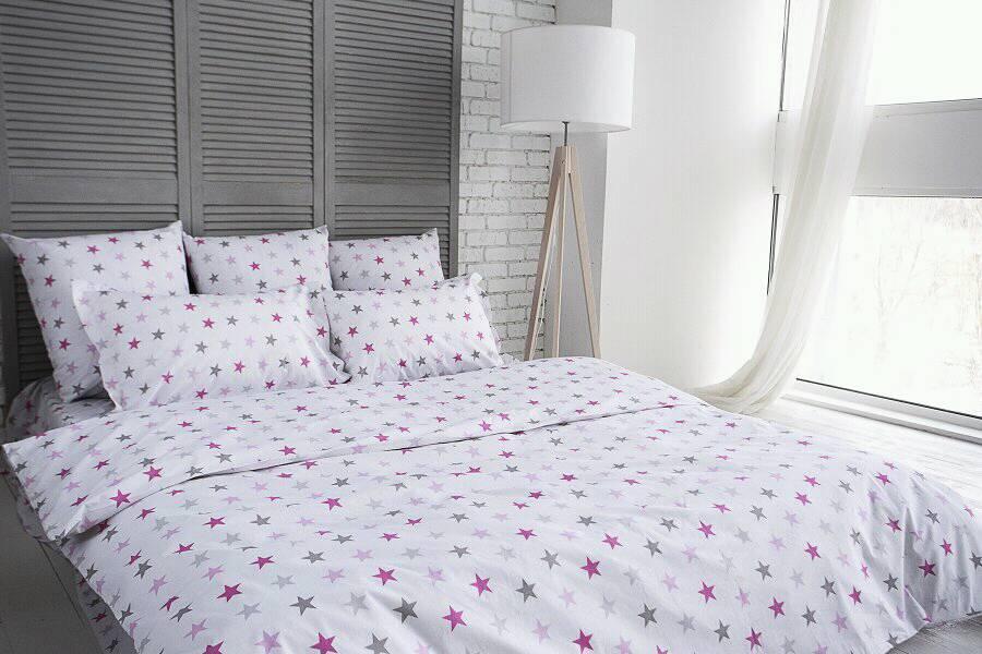 """Комплект постельного белья семейный """"Ранфорс звезды розовые и серые"""""""