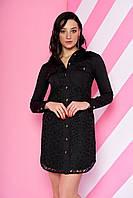 Платье рубашка с гипюром черное