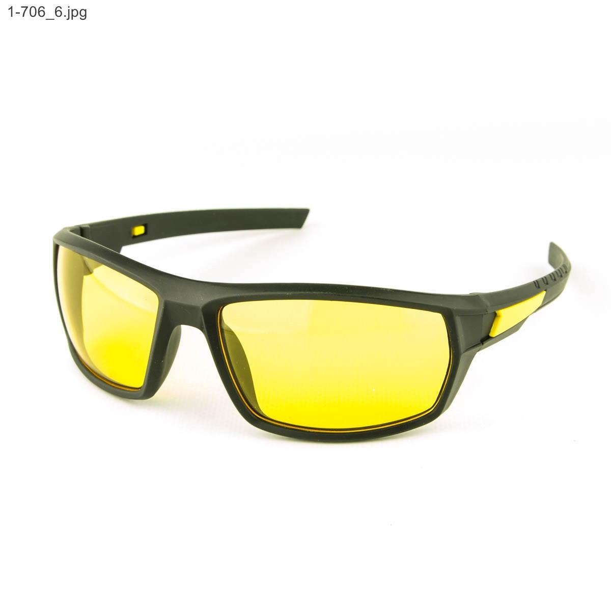 Мужские спортивные очки черные с желтой линзой - 1-706, фото 1