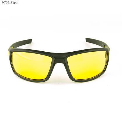 Мужские спортивные очки черные с желтой линзой - 1-706, фото 2