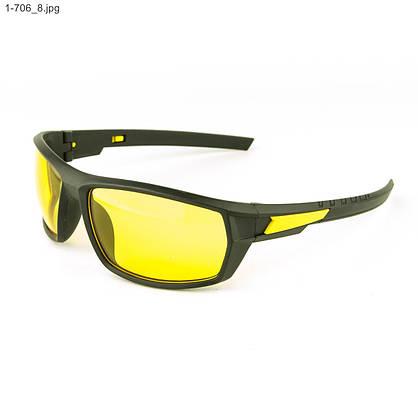 Мужские спортивные очки черные с желтой линзой - 1-706, фото 3