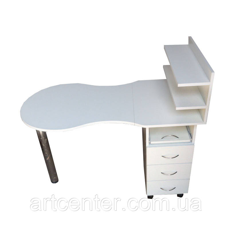 Белый маникюрный стол складной с ящиками и полочками для лаков