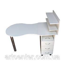 Білий манікюрний стіл складаний з ящиками і поличками для лаків