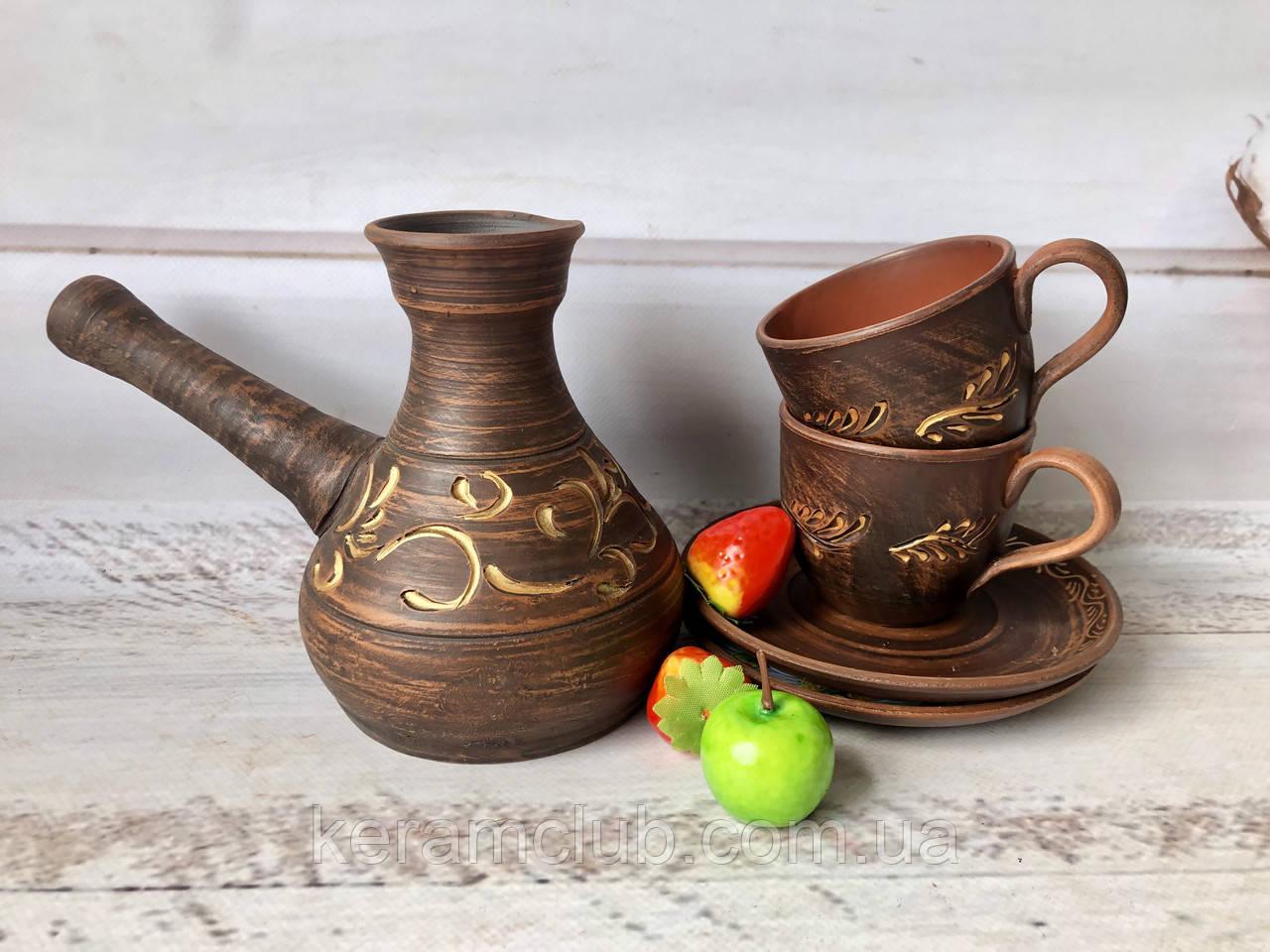 Глиняная турка ручной работы и 2 кофейные чашки+2 блюдца