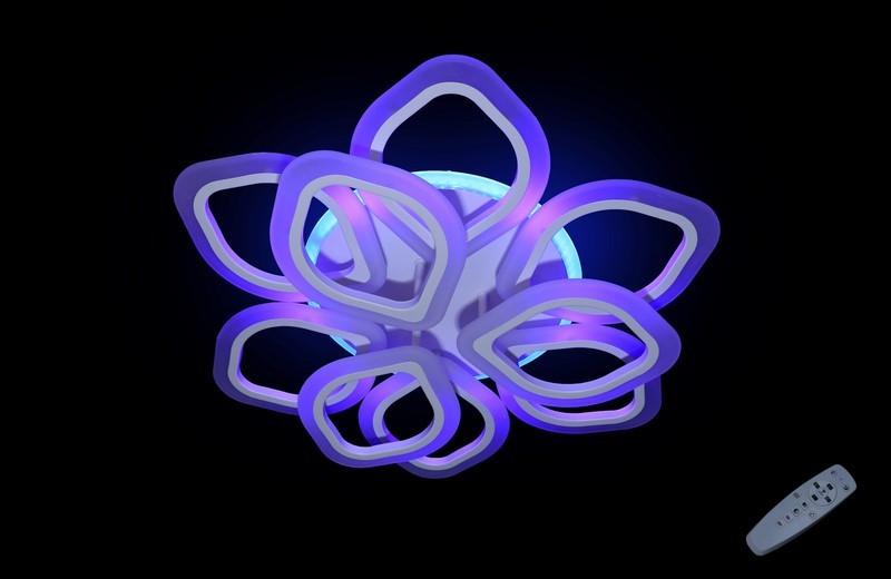 Светодиодная припотолочная люстра на три режима света. 5576/6+3 WH LED