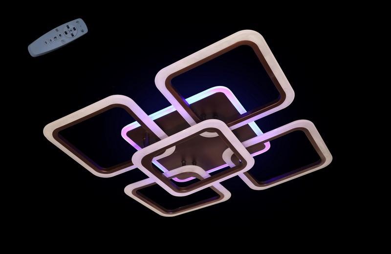 Современная светодиодная люстра с поочередным включением трех режимов и пультом. Площадь освещения 15-18 кв.м5588-4+1CF LED Dimmer