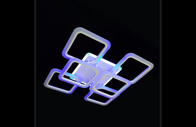 Современная светодиодная люстра с поочередным включением трех режимов и пультом. Площадь освещения 15-20 кв.м5588-4+2 WH LED