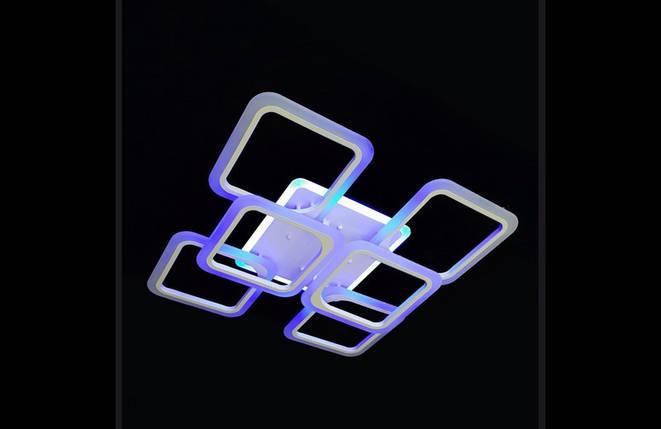 Современная светодиодная люстра с поочередным включением трех режимов и пультом. Площадь освещения 15-20 кв.м5588-4+2 WH LED, фото 2