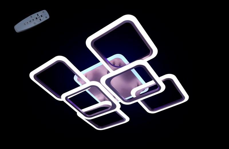 Современная светодиодная люстра с поочередным включением трех режимов и пультом. Площадь освещения 15-20 кв.м5588-4+2CF LED