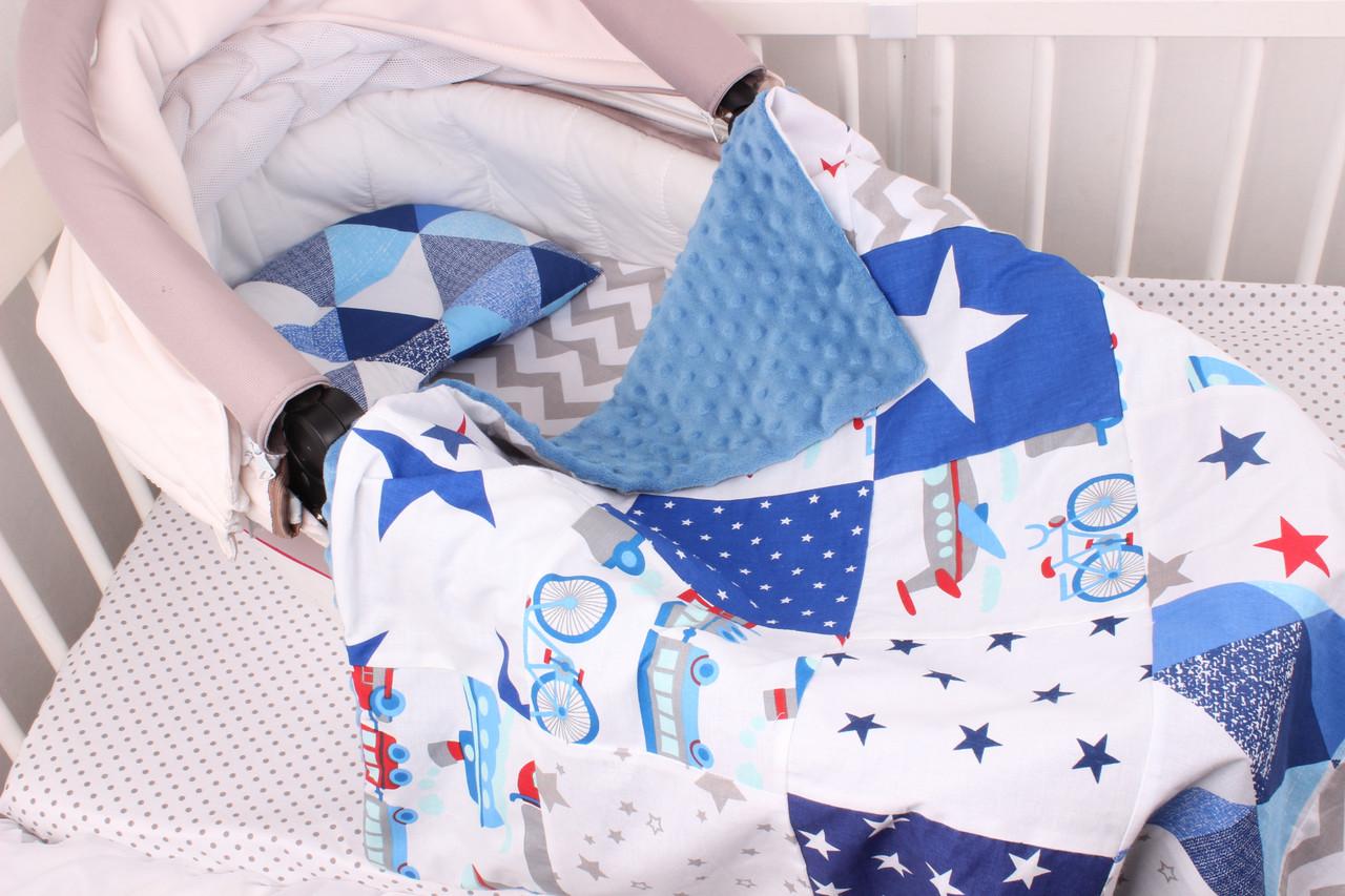 """Комплект в коляску для новорожденного """"Синие звёзды"""""""