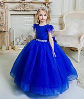 """Пышное бальное платье с блестками для девочки """"Валери"""" синее, фото 1"""